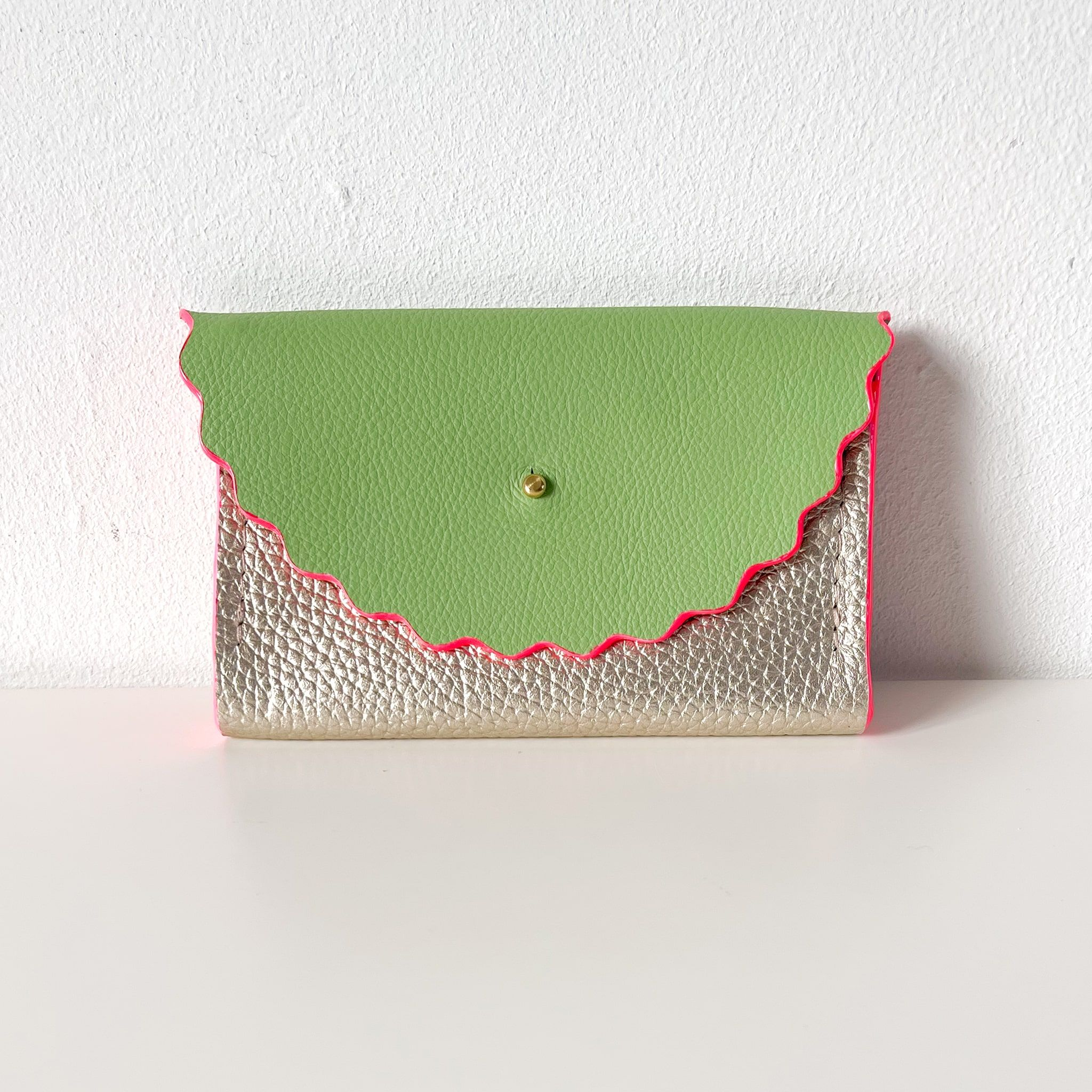 Green & Champagne Silver Dora Purse with Neon Pink Edges