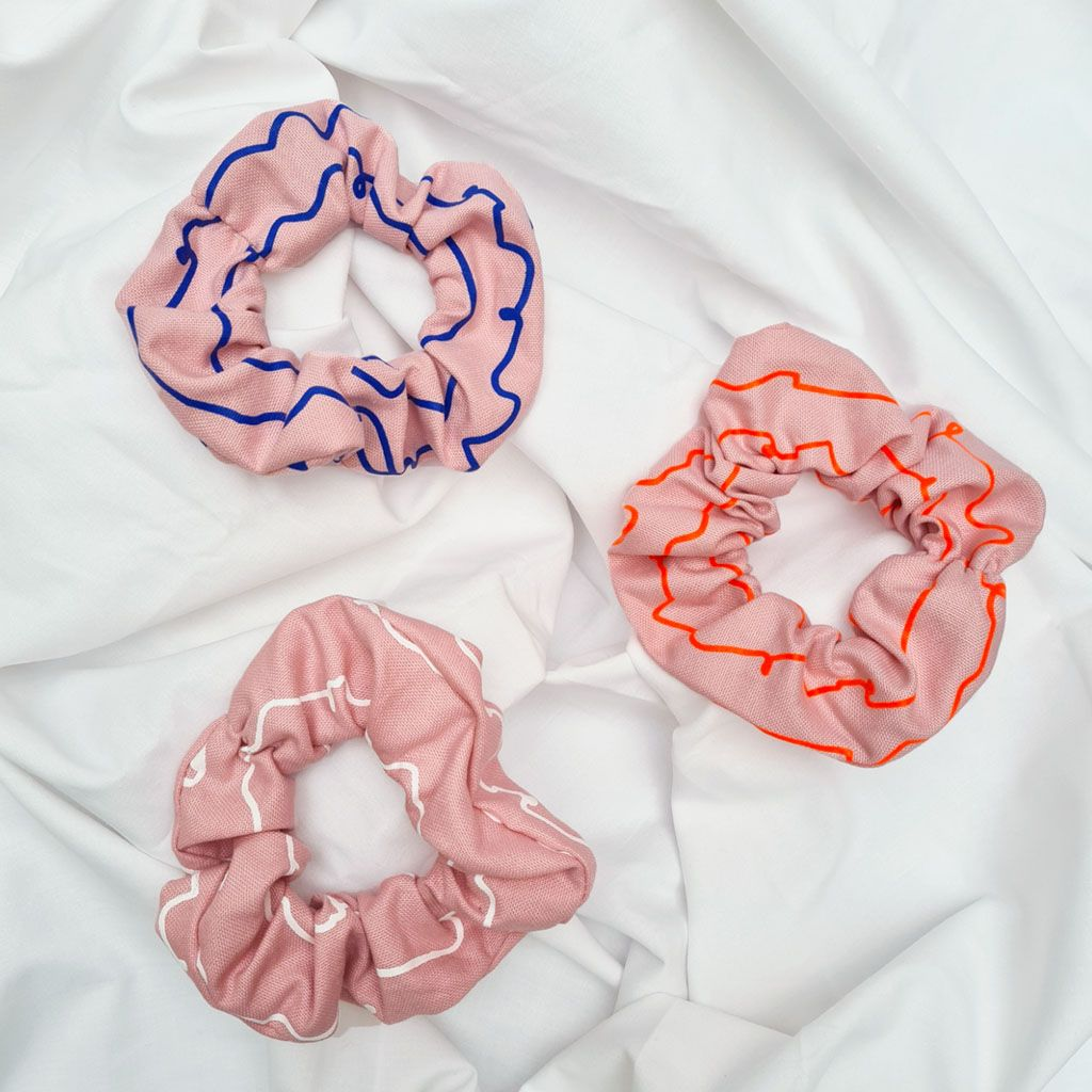 Pink Cotton Screen Printed Scrunchies