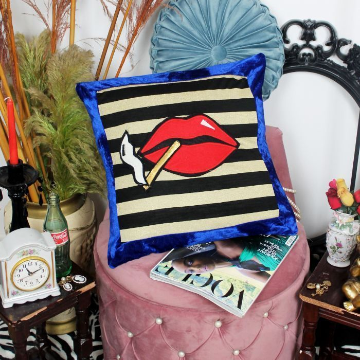 Leroy Le Smoking handmade decorative throw scatter cushion with lips and smoke design in gold and black