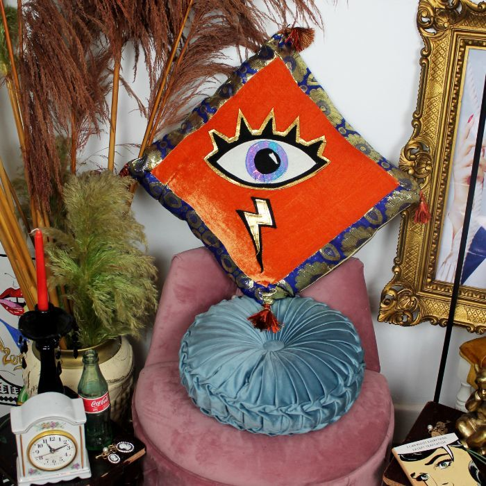 Leroy Spirit Guide handmade decorative throw scatter cushion with eye applique in orange velvet with gold and blue baroque fabric