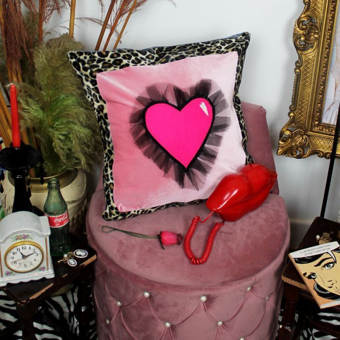 Leroy Dangerous Liaison handmade decorative throw scatter cushion in pink with 3d heart design