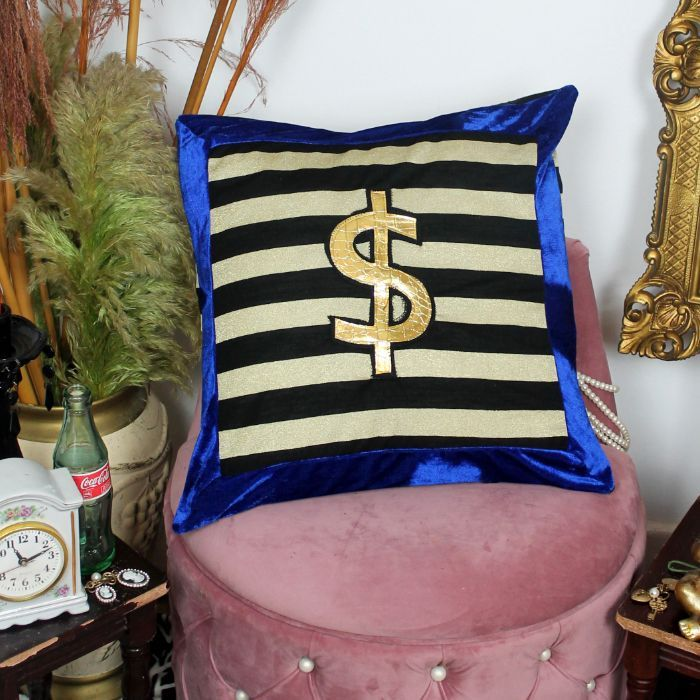 Leroy Trust Fund handmade decorative throw scatter cushion with gold dollar in black and gold with blue velvet trim