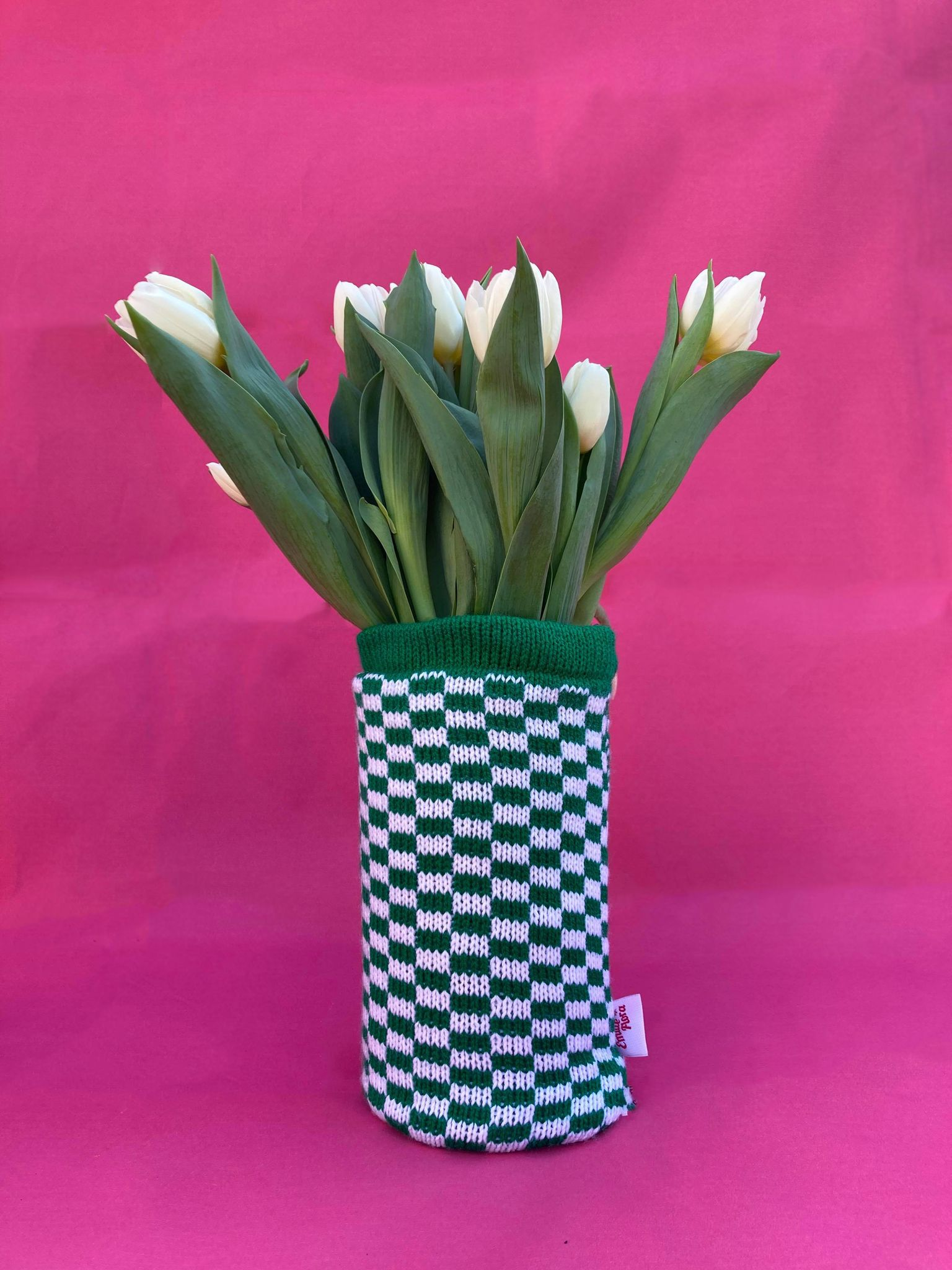Check Vase Cover - Green and White