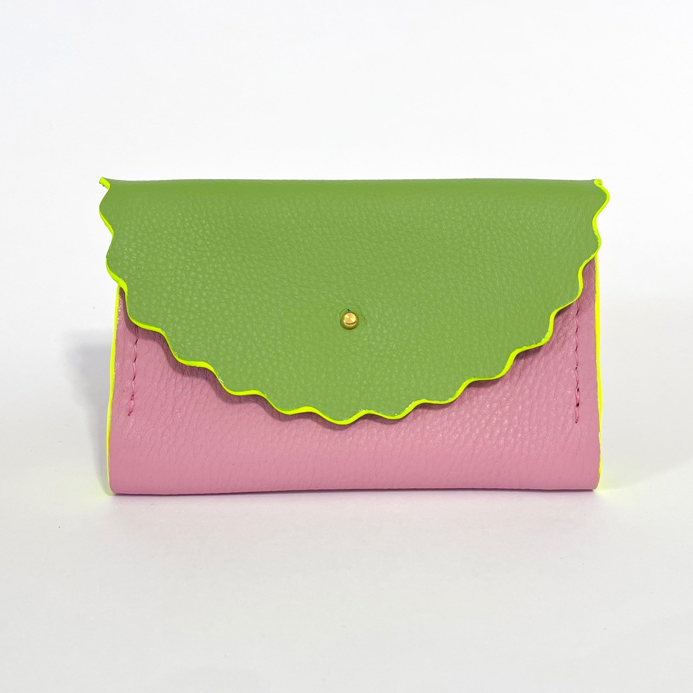 Dora Purse in Pink & Green with Neon Yellow hand painted edges