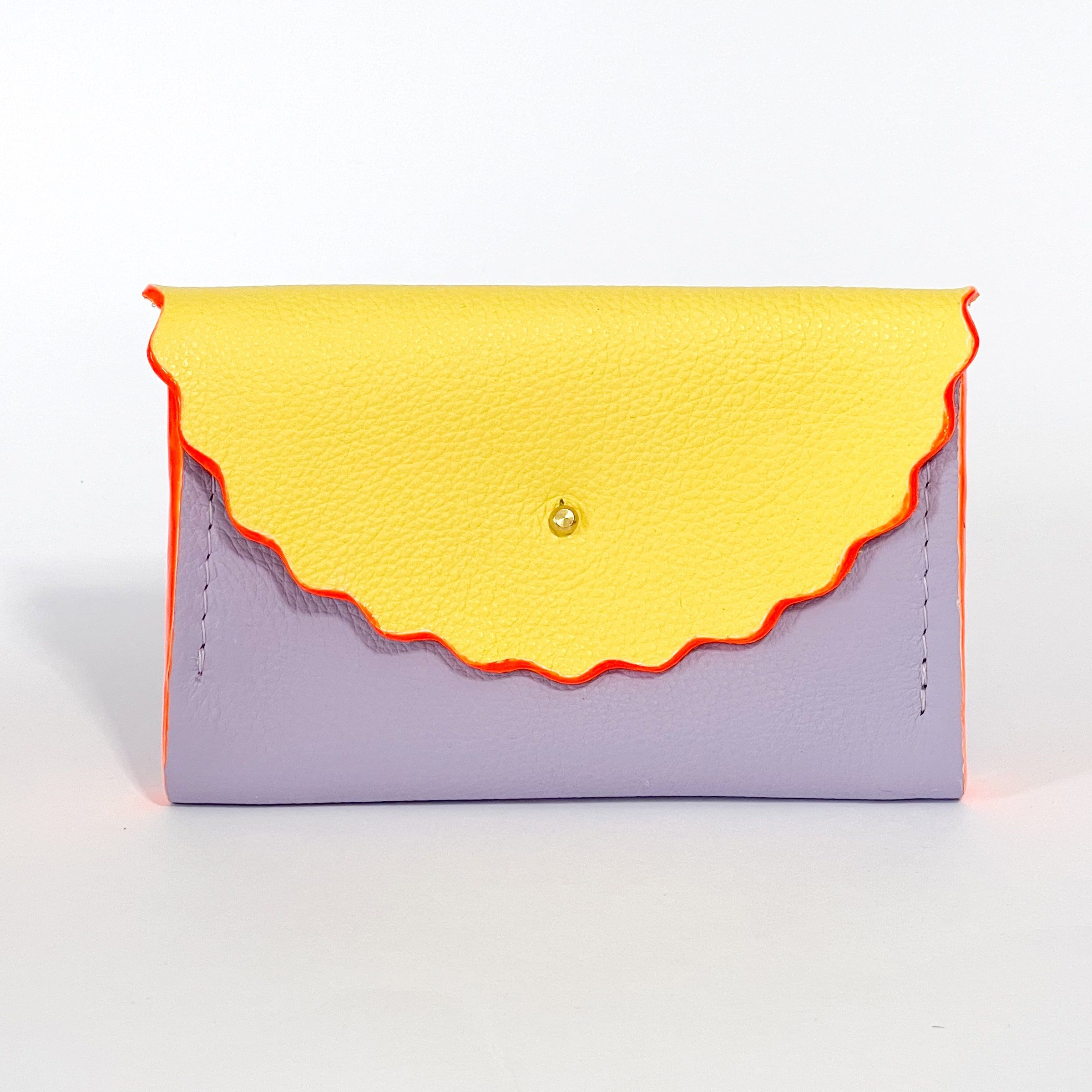 Dora Purse in Summer Yellow & Lilac with Neon Orange hand painted edges