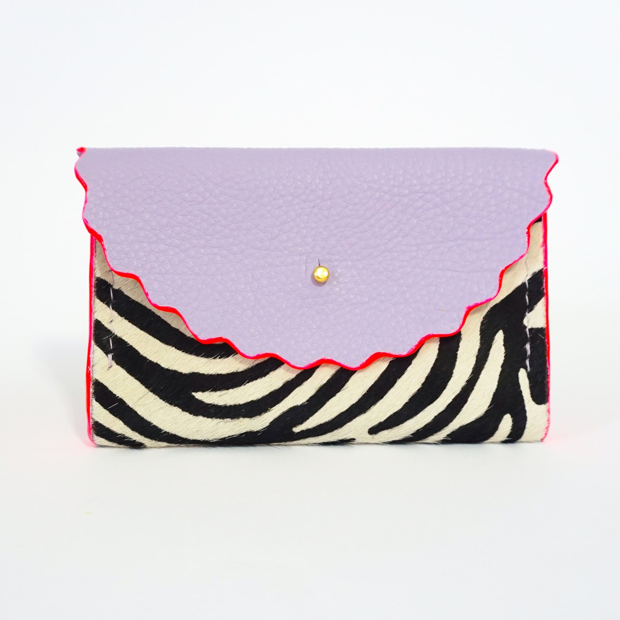 Dora Purse in Zebra Print Hair On Hide & Lilac Leather with Neon Pink hand painted edges