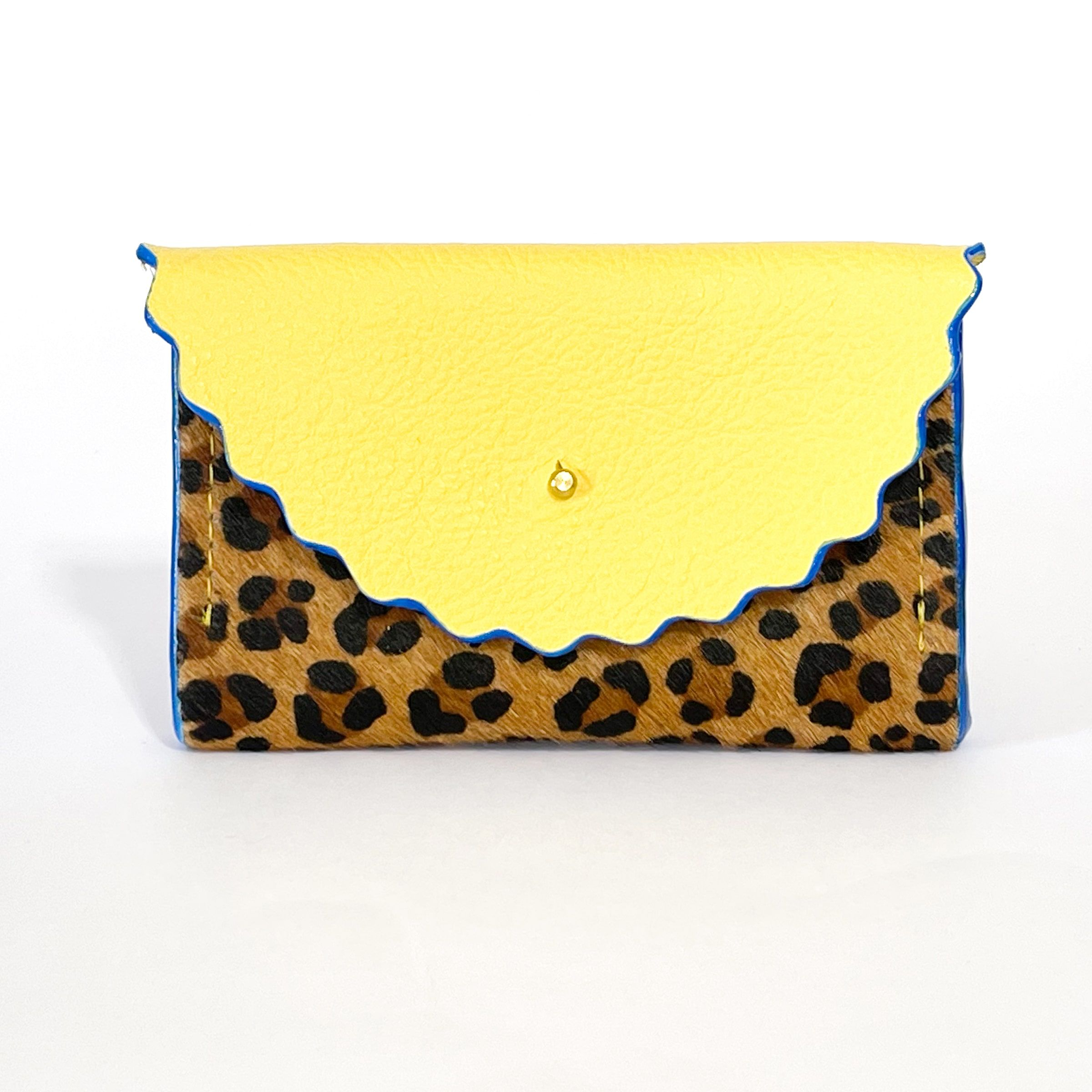 Dora Purse in Leopard Print Hair On Hide & Summer Yellow Leather with Electric Blue hand painted edges