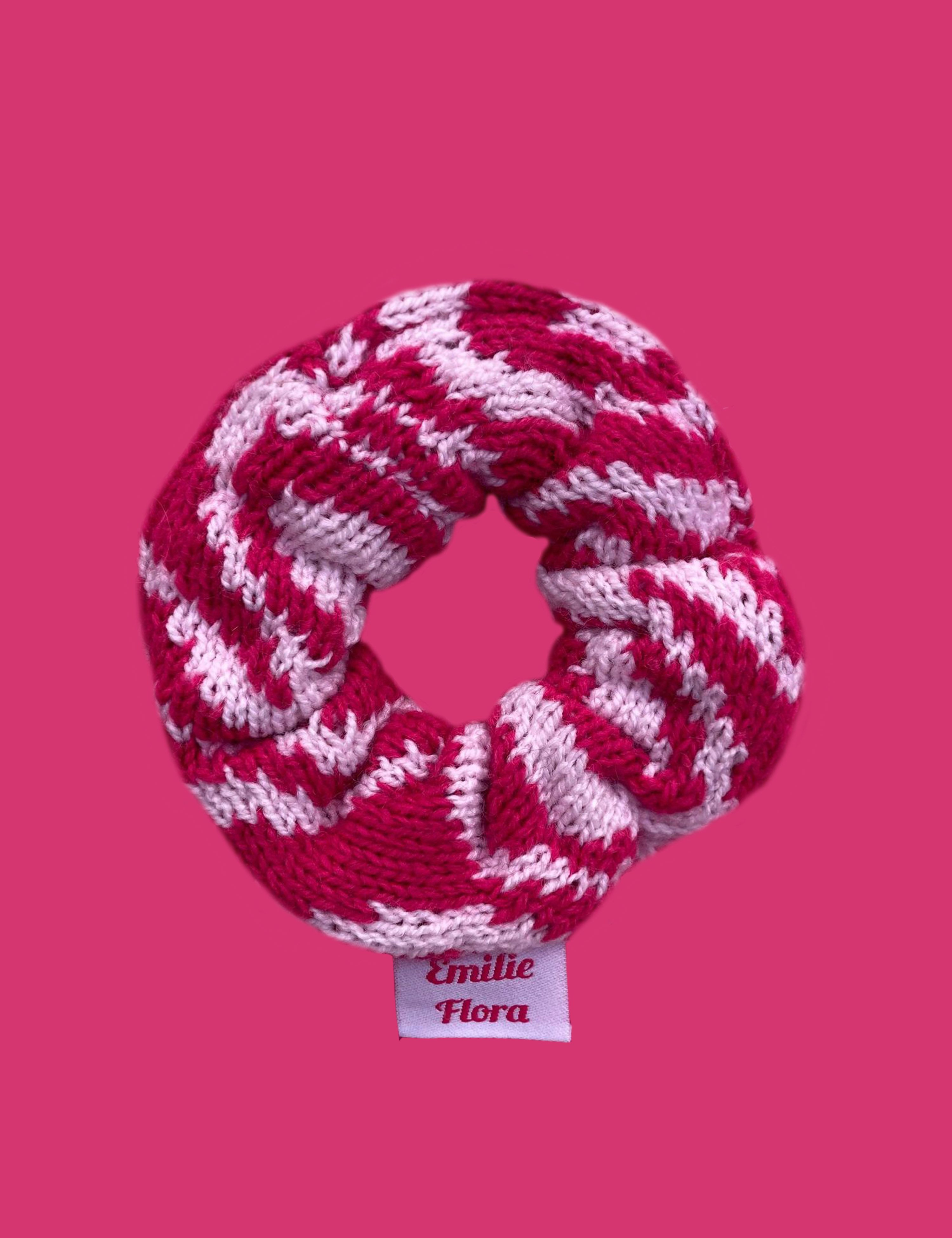 Swirly Scrunchie - Hot Pink and Pale Pink