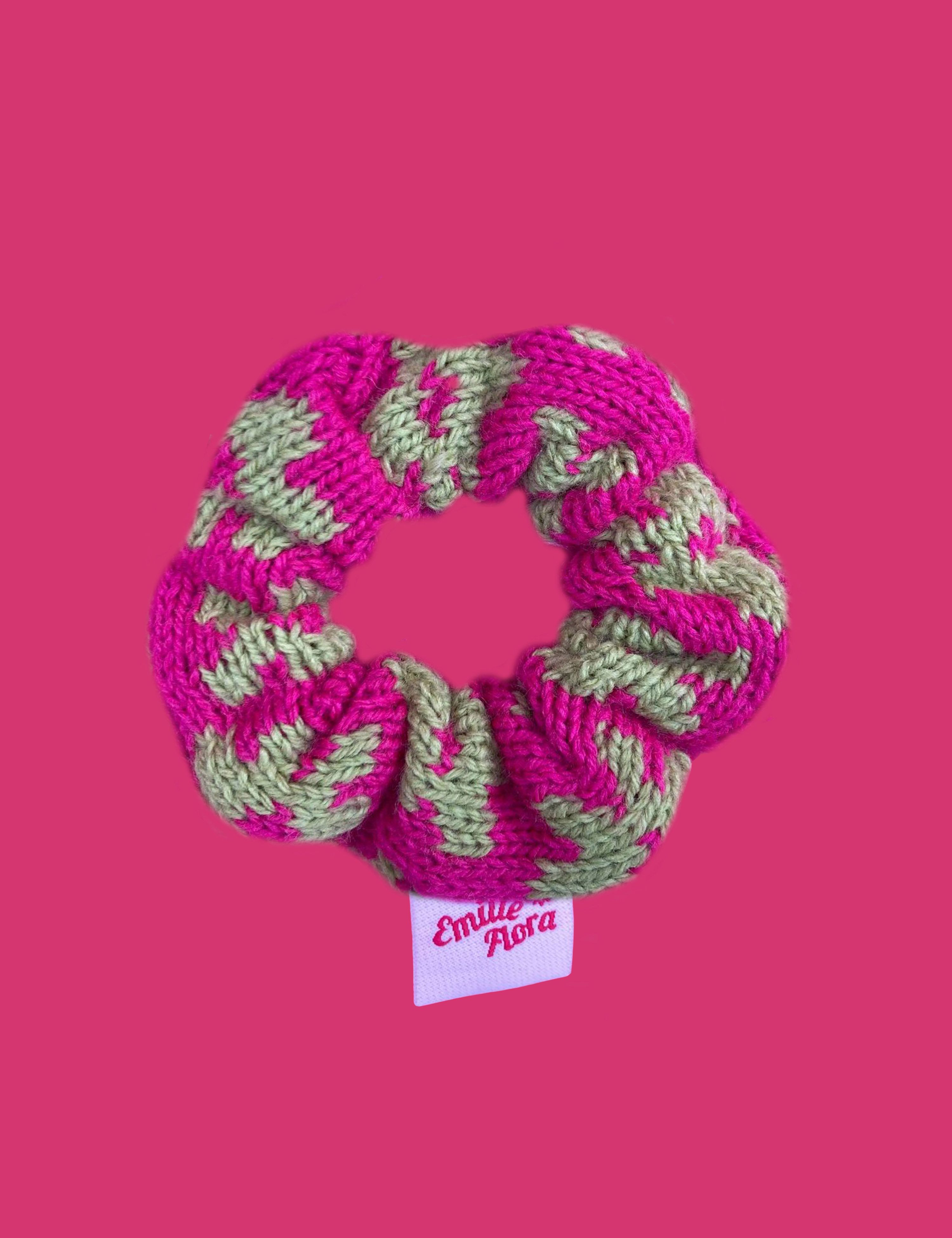 Lilac Blossom Scrunchie - Hot Pink and Lime