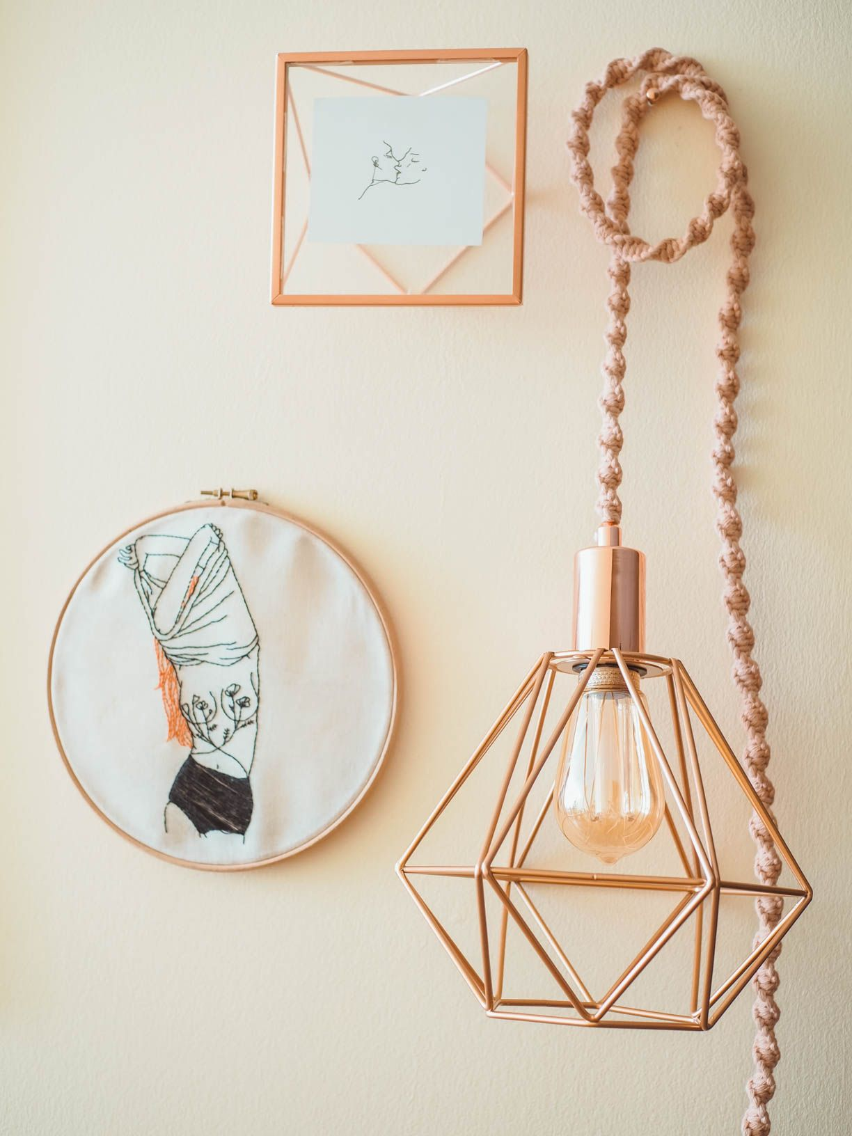 Copper & Pink Caged Macrame Lamp