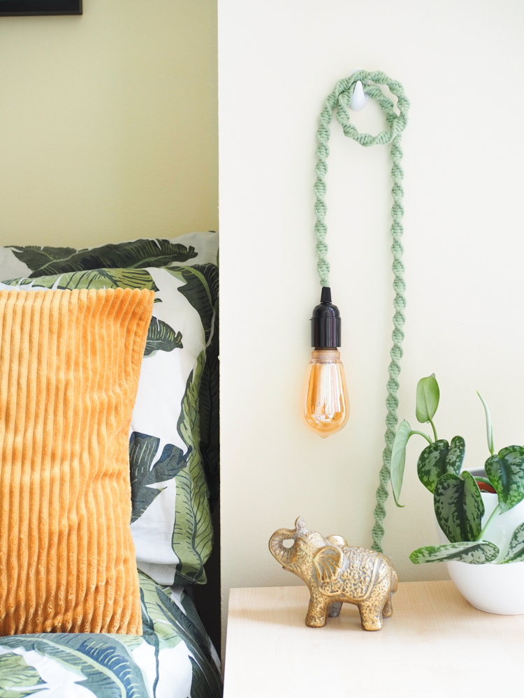 Hanging Wall Light Lamp with Macrame Cord