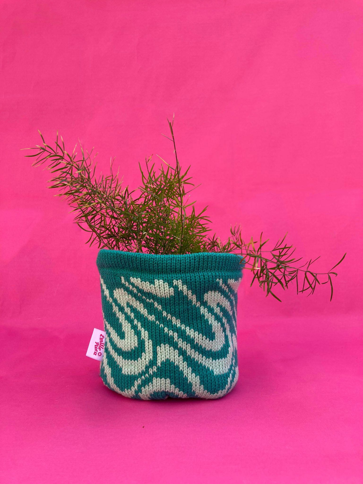 Medium Swirly Pot Cover - Teal and Mint