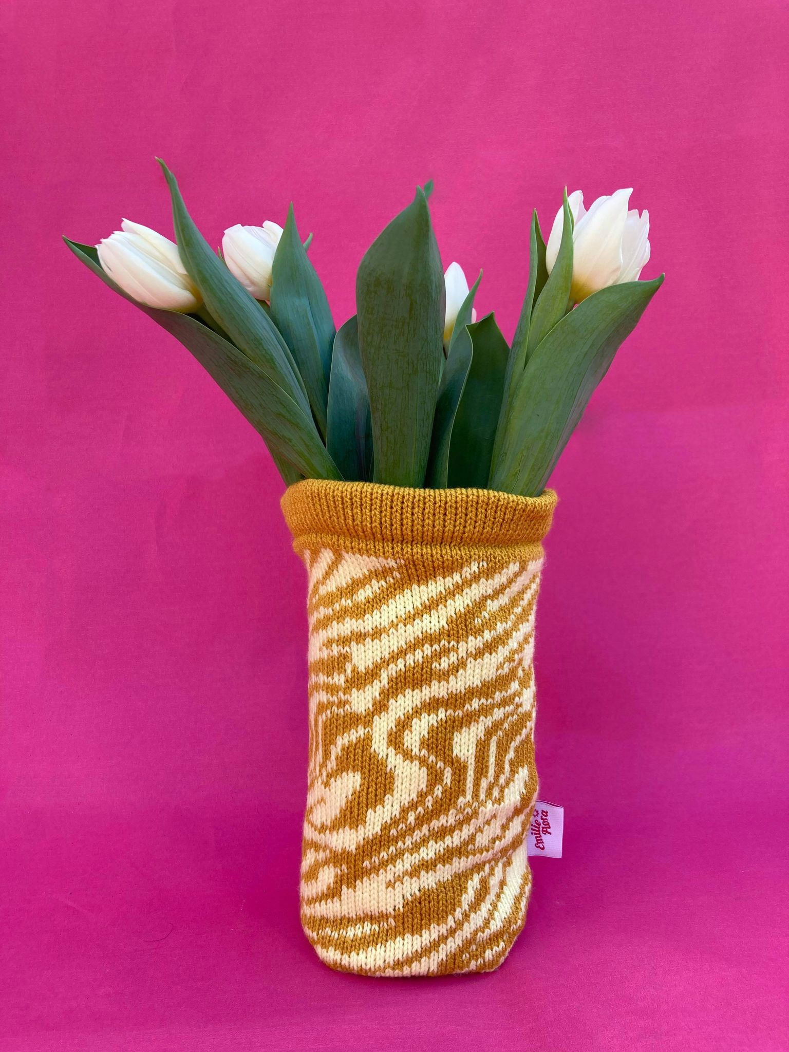 Marbled Vase Cover - Mustard and Pale Yellow