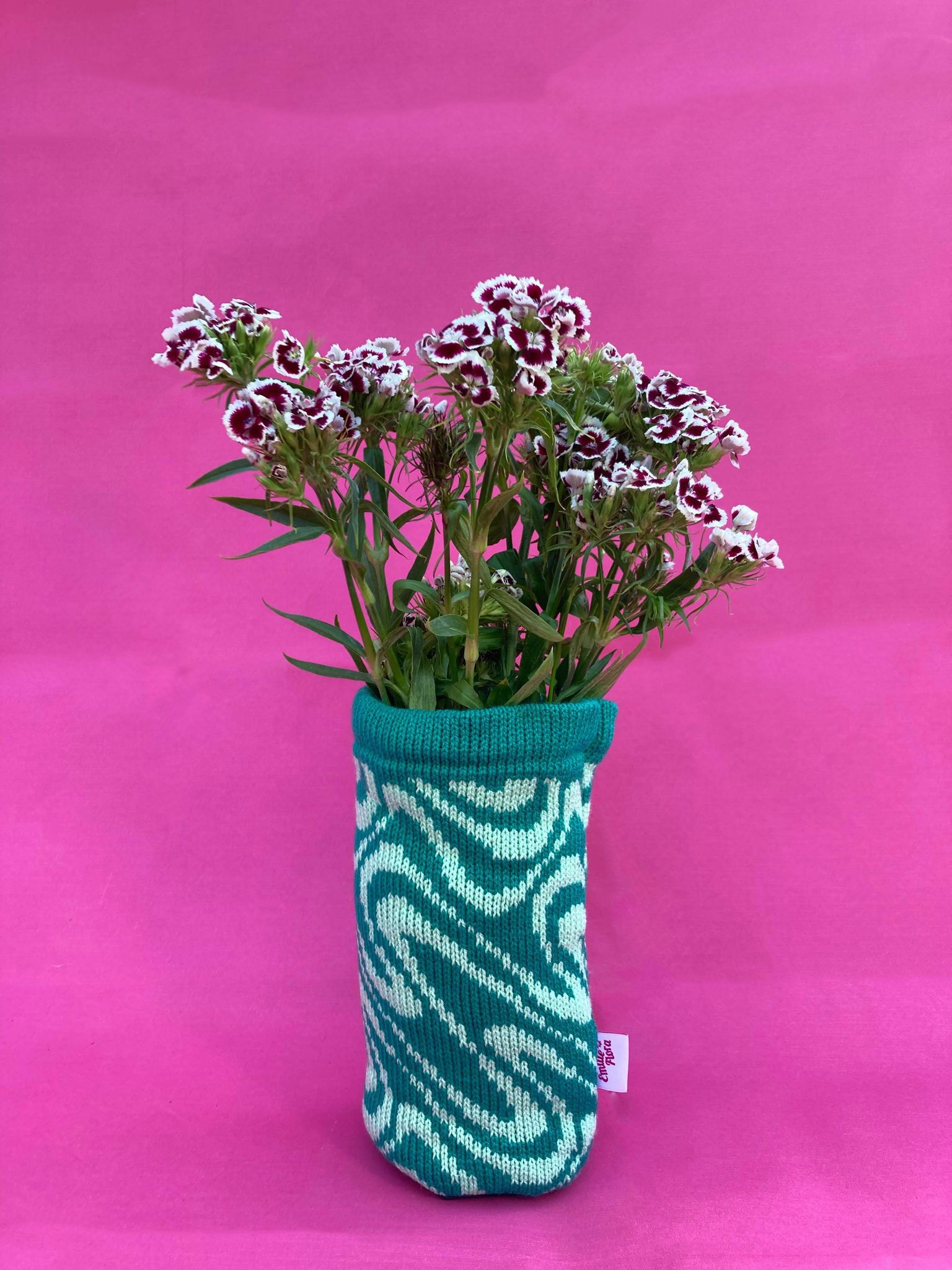 Swirly Vase Cover - Teal and Mint