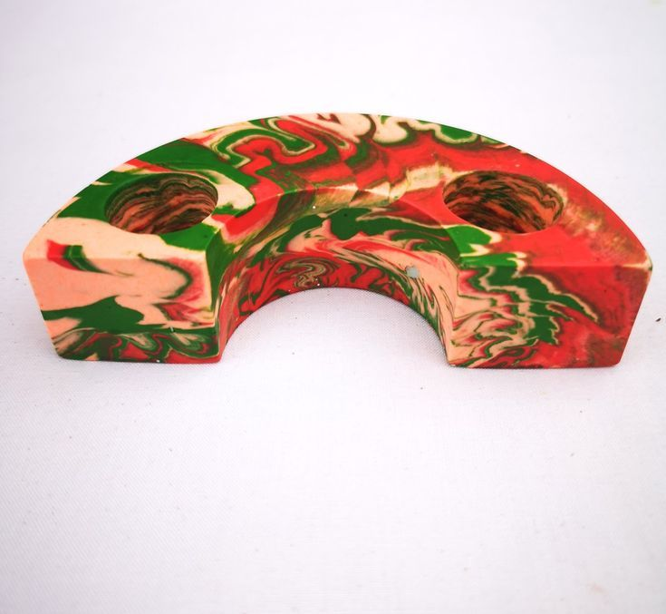 Dark Green and red semi-circle candlestick holder