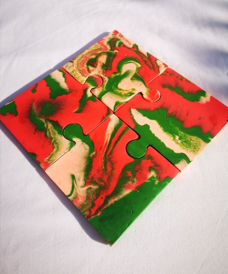 Pink/Green/Red Jigsaw Coasters