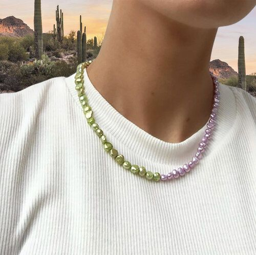 Delphi Necklace - Green and Lilac