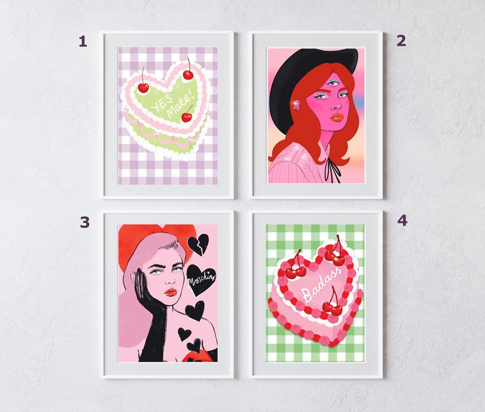 Instant Gallery Wall- 4 x A5 Fashion Prints