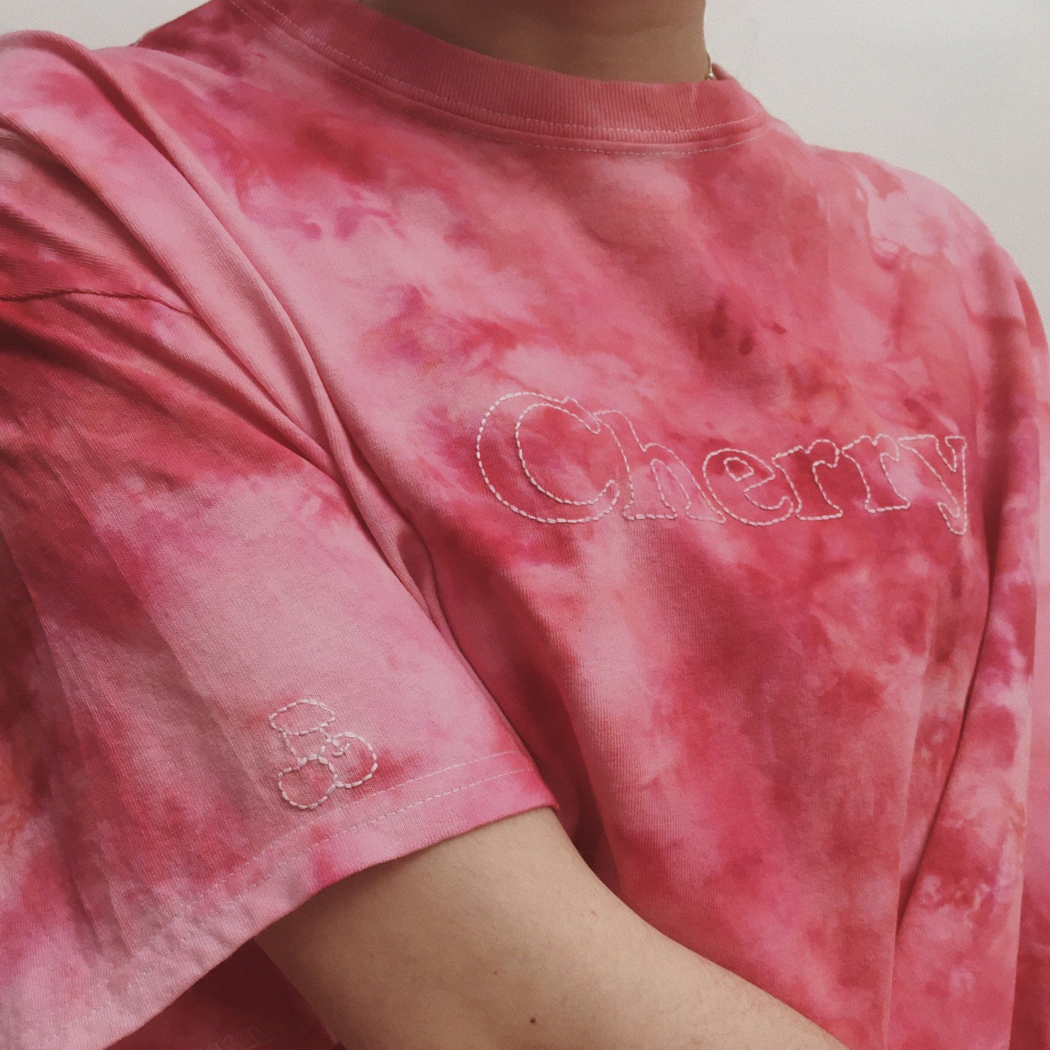 Hand Embroidered Tie Dye Cherry T-Shirt