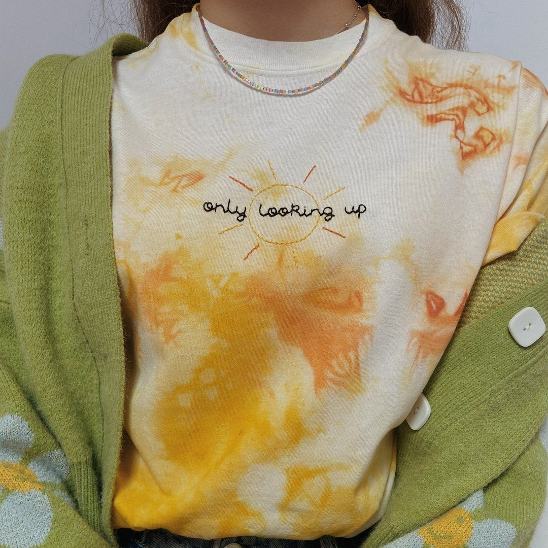 Hand Embroidered Tie Dye 'Only Looking Up' T-Shirt