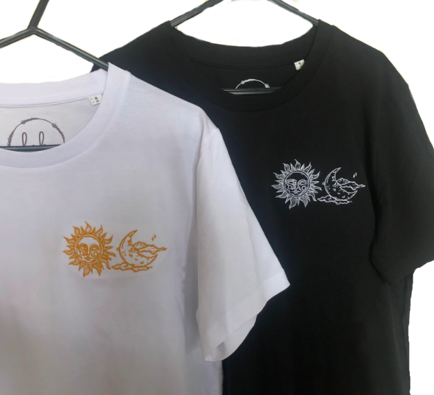 Embroidered Sun and Moon T-shirt
