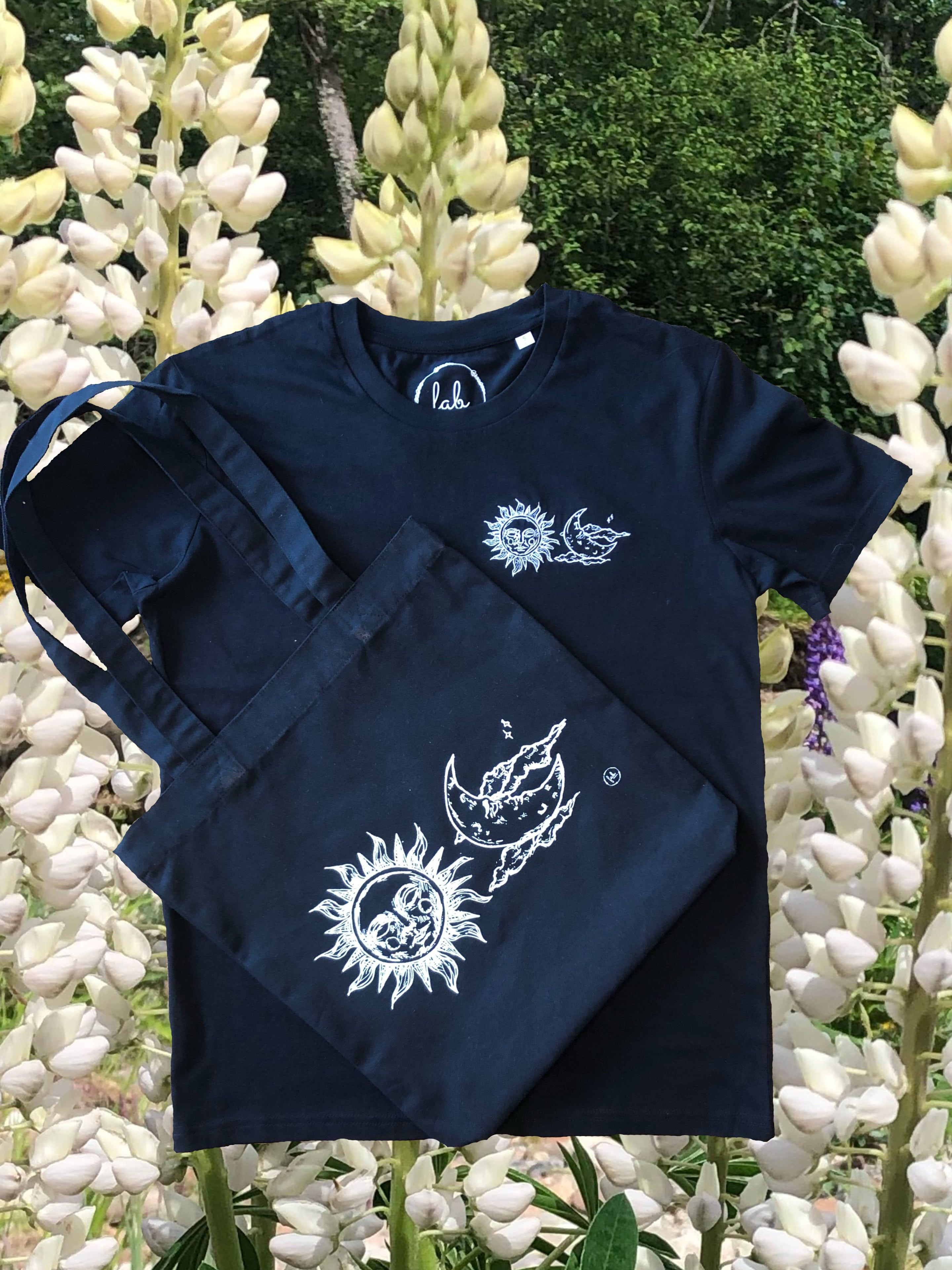 Sun and Moon Black Tote